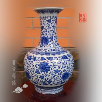 Jingdezhen jingdezhen imitation kangxi porcelain design hand-painted bound lotus flower dragon 35 cm high porcelain vase