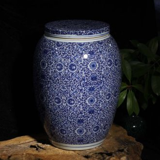 Jingdezhen porcelain rice jar of wax gourd flat cover cover pot stool tank 45 kg installed cover pot pickles jar of pickles