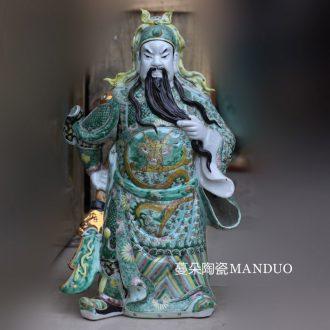 Jingdezhen hand-painted classic blue and white art duke guan porcelain like as old color three duke guan like guan yu statues