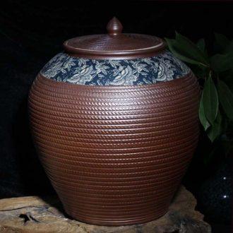 Jingdezhen 45 kg 100 jins caramel round ceramic porcelain cover pot caramel tondo storage tank