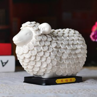 Study of contemporary and contracted sitting room lucky sheep lovely home decoration Wan Fuyang furnishing articles ceramics handicraft