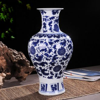 Jingdezhen blue and white ceramics vases, flower implement wine around branches study office decoration sitting room furnishing articles