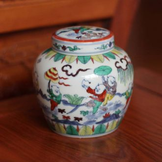 Jingdezhen hand-painted tong qu day word antique imitation Ming chenghua choi right fights pot porcelain pot rich ancient frame
