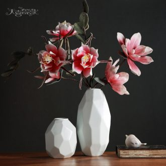 Nordic contemporary and contracted white ceramic vase furnishing articles European sitting room flower arranging dried flowers, household soft adornment