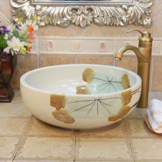 JingYuXuan jingdezhen ceramic lavatory basin art basin sink the stage basin hand-painted autumn lotus fish