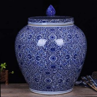 Jingdezhen circular archaize 45 kg 100 jins green blue small storage tank is full of practical tea pot