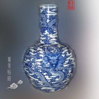 Jingdezhen blue and white celestial hand-painted qianlong dragon vase high-grade blue dragon air big vase tree