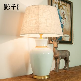 American contracted all copper ceramic desk lamp modern hotel sitting room large sample study desk lamp of bedroom the head of a bed, 1044
