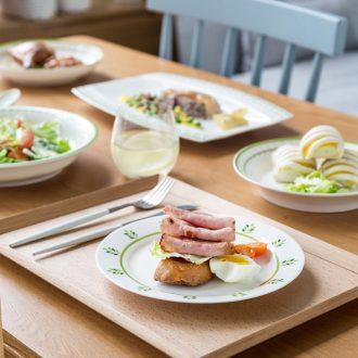 Ijarl million jia creative Chinese tableware ceramics plate flat tray plates steak household food dish dish of green