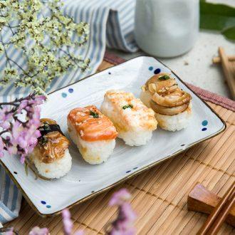 Ijarl creative Japanese dish juice bowl sushi plate rectangular plate ceramic disc plate dab home ten blue grass