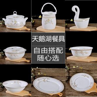 Jingdezhen ceramics from home dishes suit bone porcelain pot dish combination supporting Chinese style rainbow noodle bowl bowl soup bowl