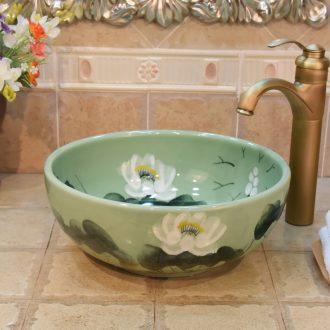 JingYuXuan jingdezhen ceramic lavatory basin art basin sink the stage basin small 35 green lotus