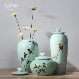 General modern creative new Chinese style ceramic hand-painted painting of flowers and bamboo pot vase furnishing articles TV ark porch decoration