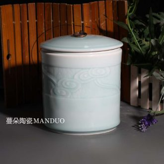 Jingdezhen celadon with cover storage porcelain cover pot celadon decoration elegant kitchen store dry porcelain cover tank