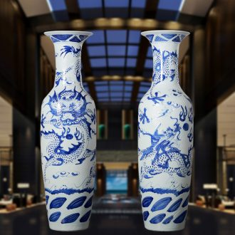 Jingdezhen porcelain craft sculpture dragon ceramic vase of large sitting room hotel home decoration handicraft furnishing articles