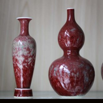 Jingdezhen pure manual pull embryo imitation kangxi beauties drunk monochrome variable series of cowpea red vase art furnishing articles