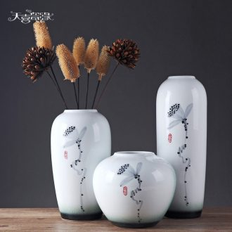 Jingdezhen Chinese decorative porcelain vase three-piece contracted sitting room dry flower arrangement table furnishing articles wedding gift