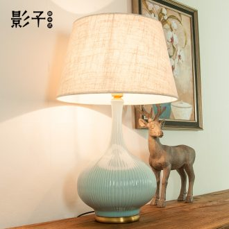 American contracted all copper ceramic desk lamp large living room a study bedroom berth lamp hotel hall have 1041 chandeliers