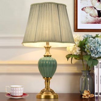 American light ceramic desk lamp of bedroom the head of a bed is contracted sitting room adornment creative remote warm light sweet romance marriage