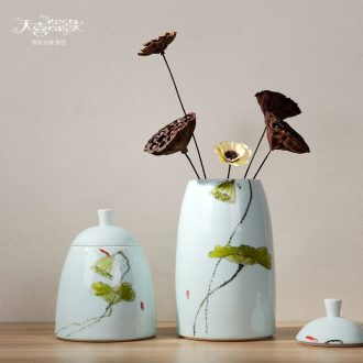 Modern creative household soft adornment the sitting room TV ark furnishing articles hand-painted ceramic tea candy storage tank