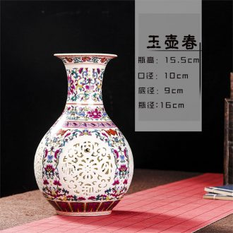 Jingdezhen ceramics household wine ark adornment handicraft sitting room place TV ark study single-layer hollow out the vase