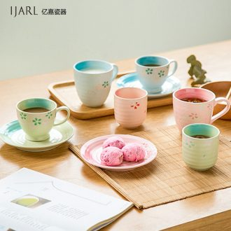 Ijarl million fine Korean Japanese glass ceramic cup coffee cup mug cups milk cup cherry blossoms