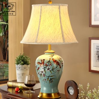 Ceramic lamp lamp of bedroom the head of a bed American retro full copper blue hand draw flowers and birds sitting room cloth art lamps and lanterns