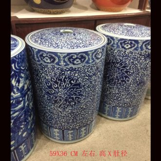 Jingdezhen 60 cm high hand-painted ceramic cover straight canister puer tea cake cover tank household utility meters pot
