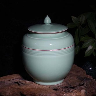 Jingdezhen 30 jins monochromatic celadon porcelain cover of snacks cover tank storage tank mesa furnishing articles rich ancient frame porcelain