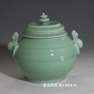 Jingdezhen celadon carved celadon cover pot high-grade life practical ceramic pot bats display rich ancient frame