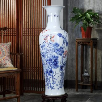 Jingdezhen ceramic fish landing big vase hand-painted lotus landscape ceramic vase sitting room home decoration