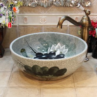 JingYuXuan jingdezhen ceramic art basin stage basin sinks the sink basin crack hand-painted lotus
