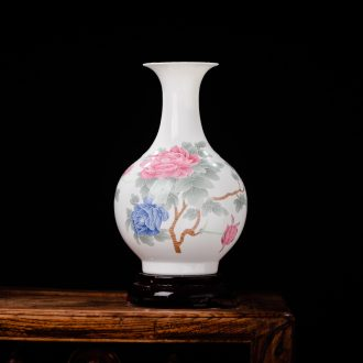 Jingdezhen ceramics vase peony modern home wine cabinet office decoration handicraft furnishing articles in the living room