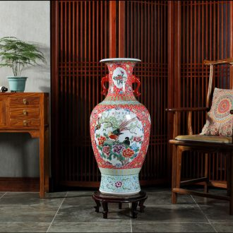 Jingdezhen ceramics antique hand-painted ears of large vase gift collection living room TV cabinet decorative furnishing articles