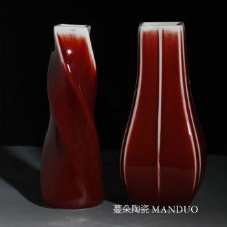 Red square vase elegant contracted bright red festive ceramic flower arranging flower vase personality bright red vase