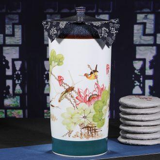 Jingdezhen ceramic hand-painted large tank creative caddy tea tea cake seal retro puer tea pot