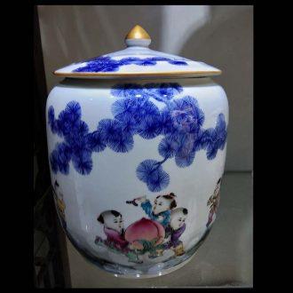 Jingdezhen porcelain tong qu porcelain jar of 5-12 kg pack blue-and-white porcelain pot rice flower pot straight POTS