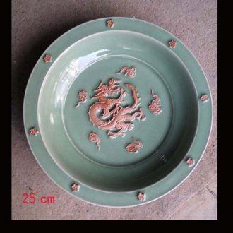 Small white porcelain of jingdezhen dragon embossment art blue glaze dragon embossment dragon celadon porcelain furnishing articles