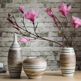 Vintage home furnishing articles pottery flower vase study three-piece TV cabinet ceramic decoration decoration process