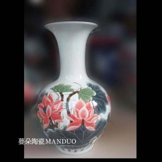 Jingdezhen famille rose porcelain carving art xiantao vase xiantao bottle hand-painted art art porcelain vase