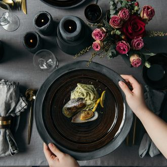 Million jia northern wind character 0 home the ceramic round big plate pasta dish steak dish black forest