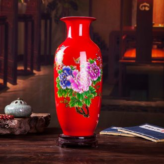 Jingdezhen ceramics wine red vase contemporary household adornment sitting room place vases, ceramic arts and crafts