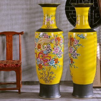 Jingdezhen archaize pastel in extremely good fortune of large vase colorful flower dragon hotel furnishing articles in the living room
