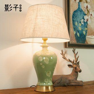 Ceramic lamp full copper French rural living room lamp hotel study grass green plum bottle european-style bedroom berth lamp 1005