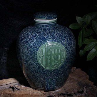 Jingdezhen 50 kg antique porcelain cover ceramic storage jar airtight jar of wine words practical drinks porcelain pot