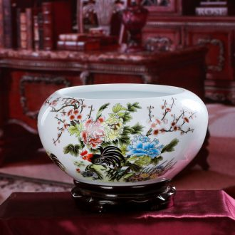 Jingdezhen ceramics basin of water shallow tank cylinder water lily tortoise wine cabinet desk decoration handicraft furnishing articles in the living room