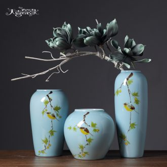 Jingdezhen modern new Chinese style household TV cabinet ceramic insert lucky bamboo vase the sitting room porch place decoration