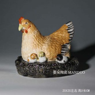 Ceramic hen chicken skin furnishing articles three-dimensional sculpture porcelain chicken chicken chicken hen furnishing articles celadon