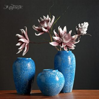 Fashion coarse pottery furnishing articles blue ceramic vases, dry flower arranging living room TV cabinet post-modern decorative household act the role ofing is tasted