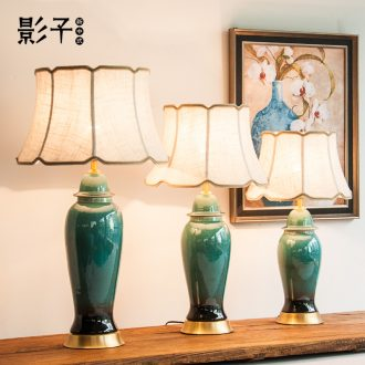 All copper ceramic desk lamp emerald green living room in the general pot of bedroom the head of a bed lamp hotel lobby study desk lamp, 1078